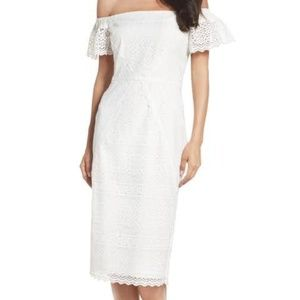 Maggy London White Sheath Lace Dress